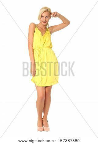 Full Length Of Flirtatious Woman In Lime Dress Isolated On White