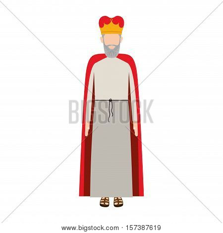 colorful king with crown and beard without a face vector illustration
