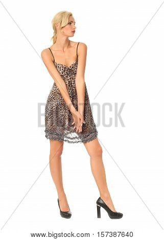 Full Length Of Flirtatious Woman In Leopard Dress Isolated On White