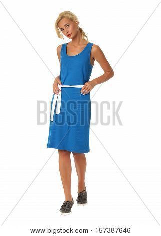 People Of Flirtatious Woman In Blue Tunic Dress Isolated On White