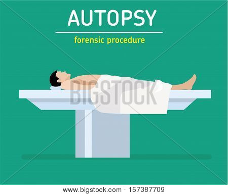 The man is a murder victim lies on a table at the coroner's. The autopsy of the murder victim. The autopsy of the murder victim.