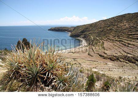 Beautiful remote Titicaca lake shore at the Isla del Sol, Bolivia