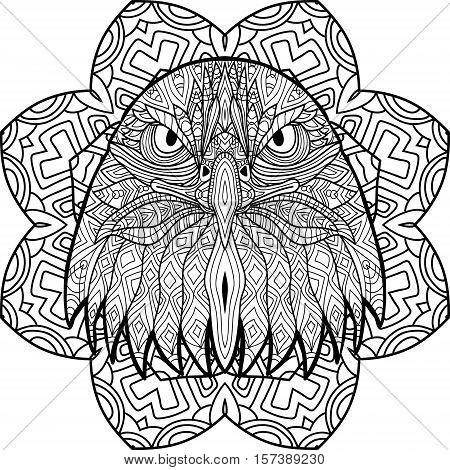 Zenart. Coloring book page for adults. Hand-drawn figure of an eagle with patterns. Circular mandala tribal patterns. Coloring antistress. Element for your design.