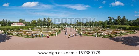 SAINT- PETERSBURG RUSSIA - September 06 2015: Oranienbaum is a Russian royal residence located on the Gulf of Finland west of Saint Petersburg. The Palace ensemble are UNESCO World Heritage Sites