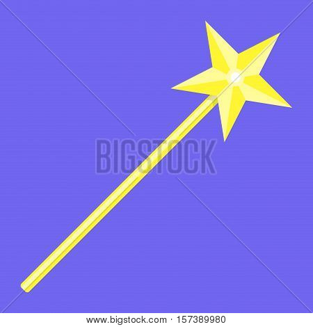 Magic wand with star. Magic wand icon wizard and fairy wand Vector illustration