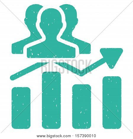 Audience Chart Trend grainy textured icon for overlay watermark stamps. Flat symbol with unclean texture. Dotted vector cyan ink rubber seal stamp with grunge design on a white background.