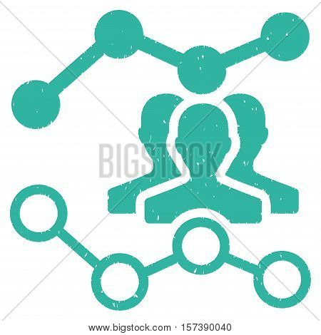 Audience Trends grainy textured icon for overlay watermark stamps. Flat symbol with dirty texture. Dotted vector cyan ink rubber seal stamp with grunge design on a white background.