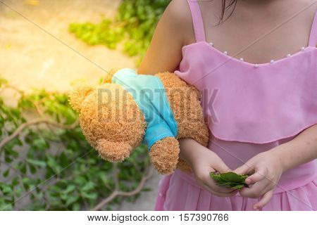 Asia Girl Child Cute With Teddy Bear