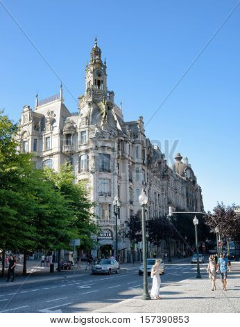 The Building With The Clock Tower On The Liberty Square In Porto, Portugal.
