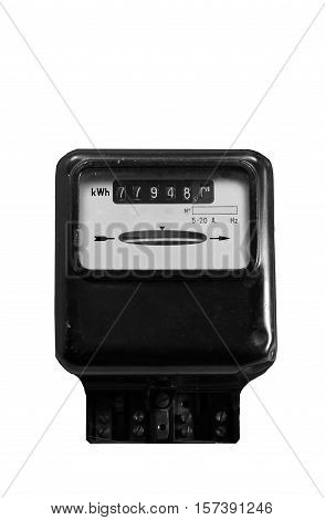 Electricity Meter With The White Background