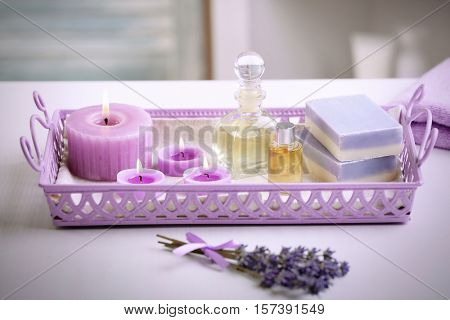 Beautiful spa composition in metal tray on table