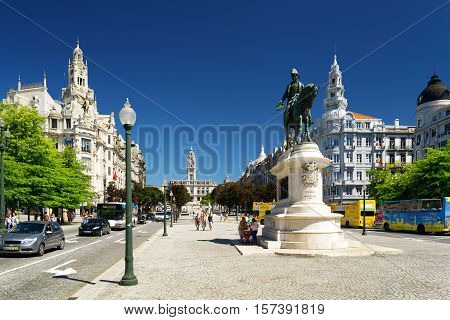 Monument To The First King Of Portugal Don Pedro Iv On The Liberty Square In Porto