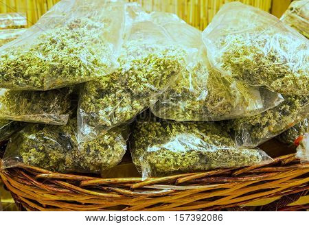 Bags With Dried Oregano On Sale In The Stall Italy