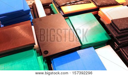 Stall With Many Robust Industrial Plastic Cutting Boards For Sal