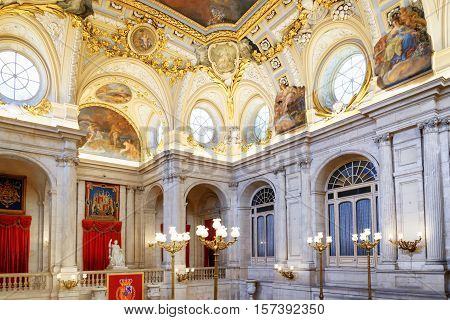 Frescoes And Moldings On The Vaulted Ceiling In The Interior Of The Royal Palace Of Madrid In Spain