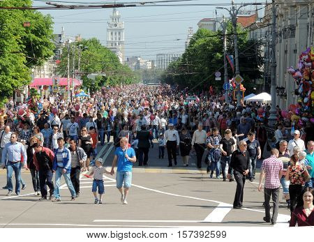 VORONEZH, RUSSIA - May 9, 2016: Festive mood of townsfolk in a city street during the celebration on Victory Day. May 9, 2016 in Voronezh, Russia