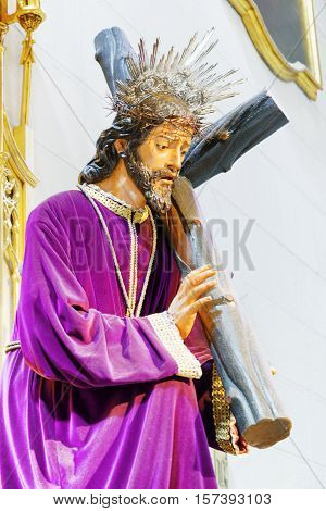 Statue Of Jesus Christ At The Cathedral Of La Almudena, Madrid