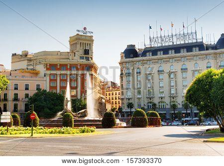 Fuente De Neptuno On Plaza Canovas Del Castillo In Madrid, Spain