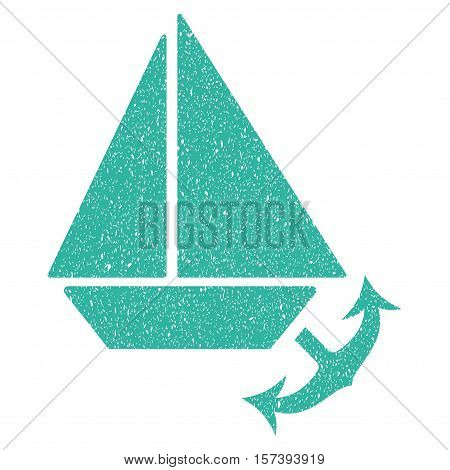Seaport grainy textured icon for overlay watermark stamps. Flat symbol with unclean texture. Dotted vector cyan ink rubber seal stamp with grunge design on a white background.