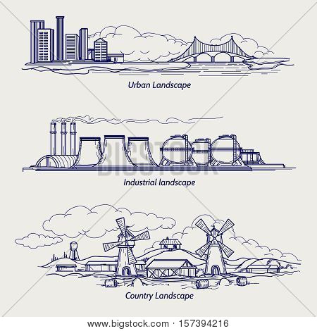 Ball pen sketch urban country and industrial ladscapes vector
