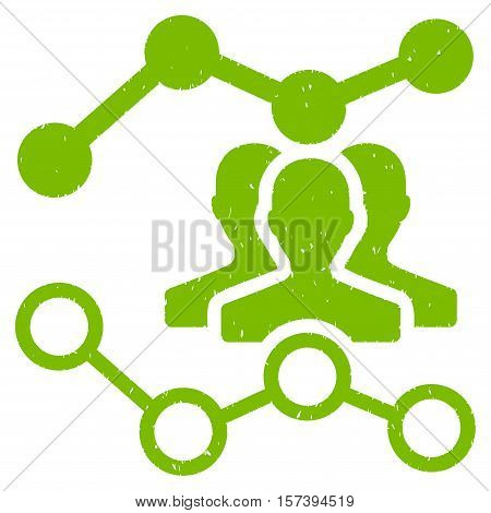 Audience Trends grainy textured icon for overlay watermark stamps. Flat symbol with dust texture. Dotted vector eco green ink rubber seal stamp with grunge design on a white background.