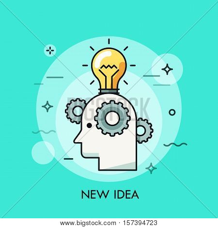 Thin line icon with flat design element of bright idea in human head, success human solution, lightbulb lamp, eureka in problem solving. Modern style logo vector illustration concept.