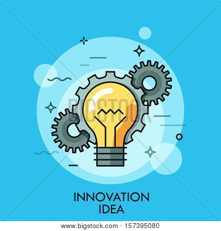Thin line icon with flat design element of lightbulb in chain with gears, success human solution, innovation idea, eureka in problem solving. Modern style logo vector illustration concept.