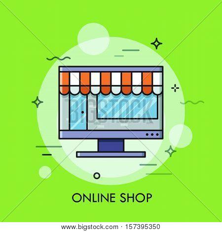 Thin line flat design of online store, internet shopping, shop building inside screen. Modern style logo vector illustration concept.