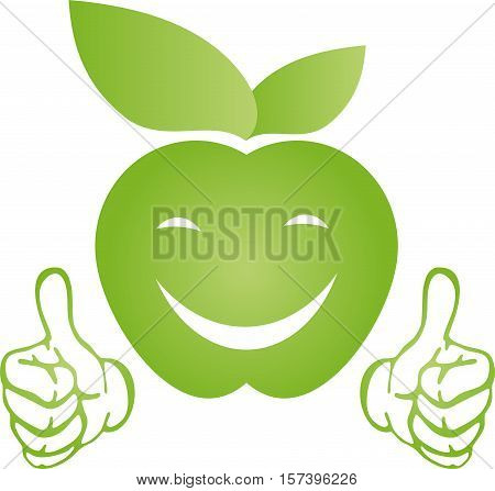 Apple with hands and smile, apple and food logo
