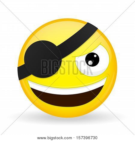 Smiling pirate emoji. Happy emotion. Villain emoticon. Cartoon style. Vector illustration smile icon.