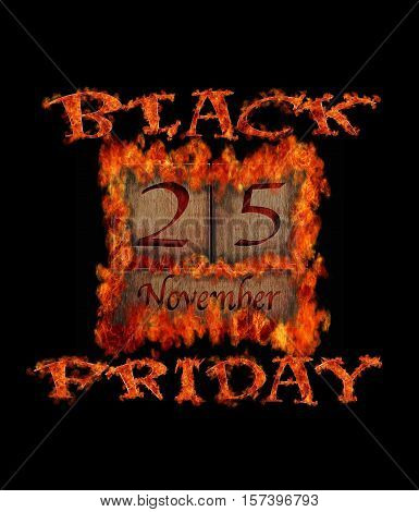Illustration burning wooden calendar with black Friday day 2016.