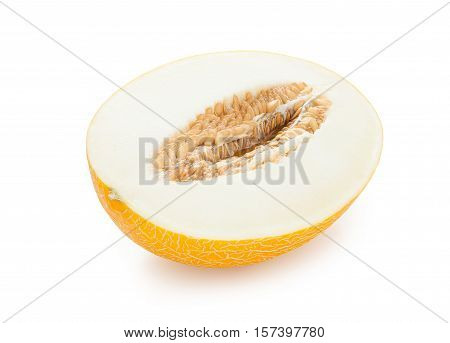 Melon. Half ripe melons isolated on white background. Melon in a cut