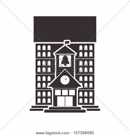 Black silhouette high school structure with bell