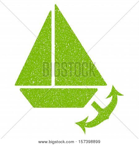 Seaport grainy textured icon for overlay watermark stamps. Flat symbol with scratched texture. Dotted vector eco green ink rubber seal stamp with grunge design on a white background.