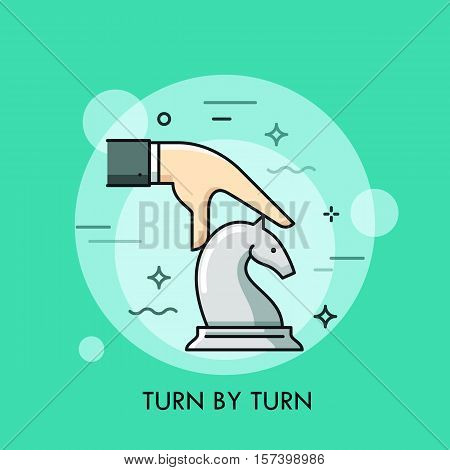 Hand moving white knight chess piece. Turn by turn smart strategy business concept. Board game competition icon. Vector illustration in thin line style for website, banner, poster, advertisement.