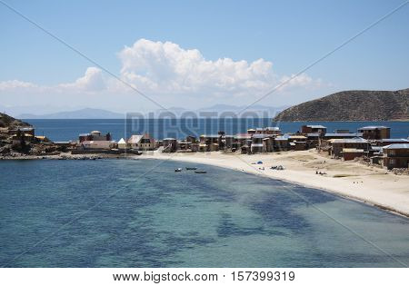 Beautiful foreland with a beach at the Isla Del Sol at Titicaca lake in Bolivia