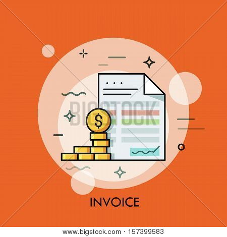 Invoice and dollar coins. Budget planning, money saving and paying debt concept, financial document and paperwork icon. Vector illustration in thin line style for website, accounting service logo.