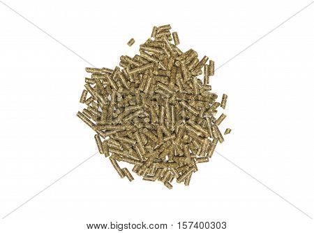 Food pellets for hamster rabbits guanea pig mouse chinchilla. Food pellets for rodent isolated on white background.