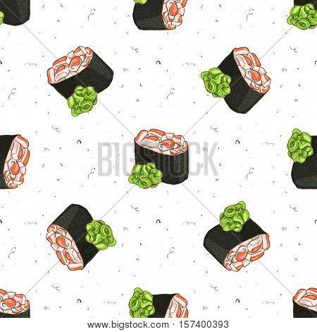 Seamless pattern of sushi Gunkan Spicy Ebi with wasabi , color