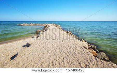 Seashore stones. Beautiful seascape. beautiful rocky seashore. Stones on coast. Nature composition