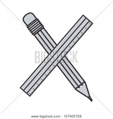 gray silhouette pencil with ruler vector illustration
