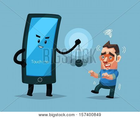 Cellphone character hypnotizes a man Sign and symbol vector illustration.