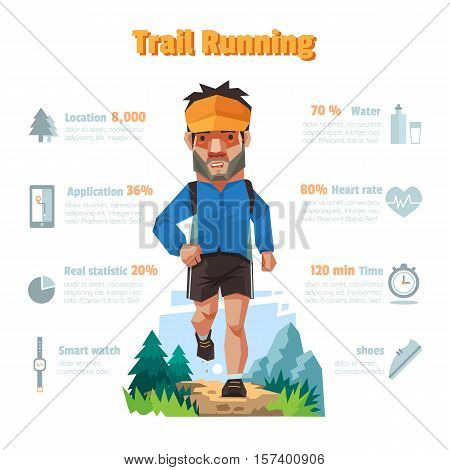 A man run in the forrest Trail running Infographic elements.