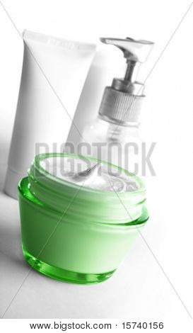 open jar of face cream. cosmetic products with no brand