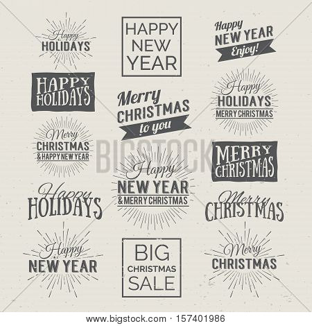 Merry Christmas and Happy New Year Calligraphic Design Label on grunge background. Holidays lettering for invitation, greeting card, prints and posters. Typographic design. Vector illustration.