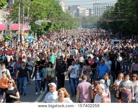 VORONEZH, RUSSIA - May 9, 2016: Festive mood of city dwellers in a street during the celebration on Victory Day. May 9, 2016 in Voronezh, Russia