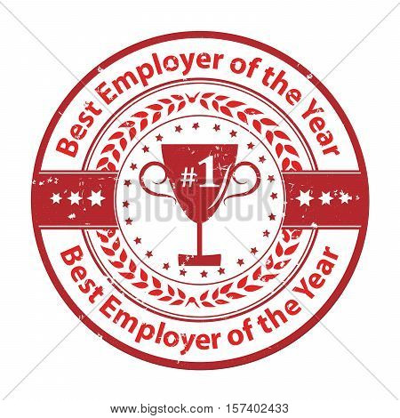 Best Employer of the year - business award label / stamp. Red color distinction with champions cup. Print colors used