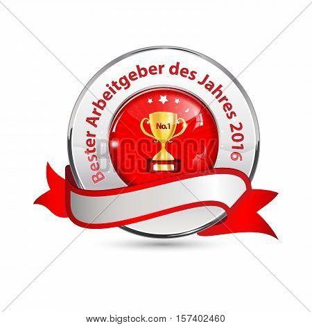 Best Employer of the year  2016 (German language: Bester Arbeitgeber des Jahres 2016) - business elegant icon / ribbon award distinction for companies.