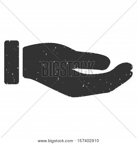 Petition Hand grainy textured icon for overlay watermark stamps. Flat symbol with dust texture. Dotted vector gray ink rubber seal stamp with grunge design on a white background.