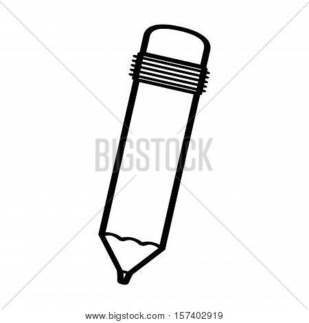 black silhouette pencil with eraser vector illustration